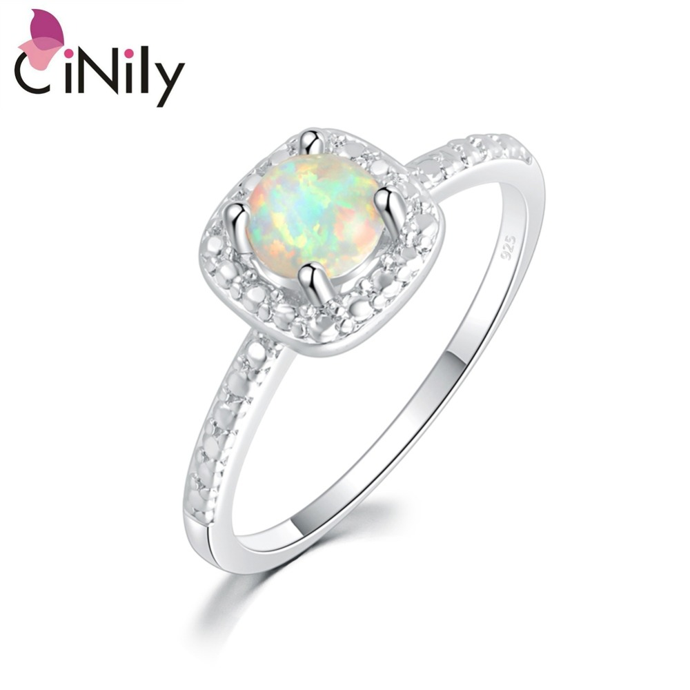 Cinily Fire-Opal Jewelry Ring-Size Silver-Plated White Fashion Women for Gift 6/7/8/9-oj5395
