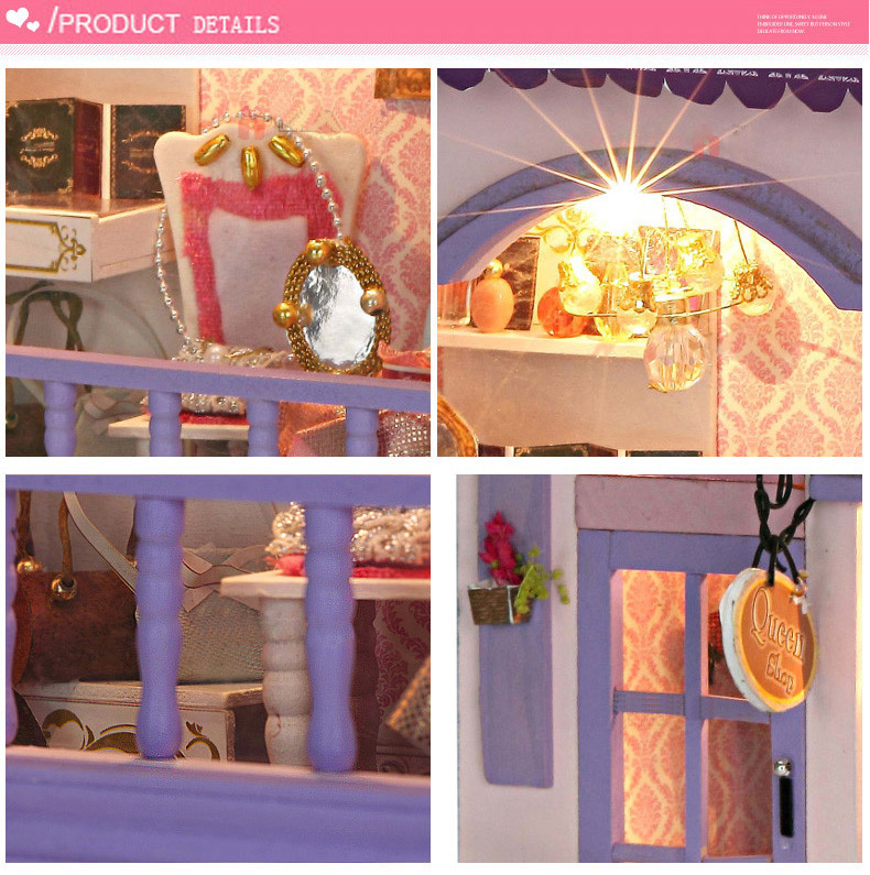 Kids Creative DIY Doll House Room Box Home Handmade Toy Purple Shop Model Kit Assemble Miniature Dollhouse Toys Girl Lovely Gift  (6)