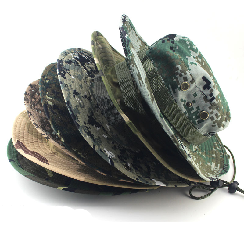 24-Colors Military Camouflage Bucket Hats Camo Fisherman Hats With Wide Brim Sun Fishing Bucket Hat Camping Sunscreen Hat