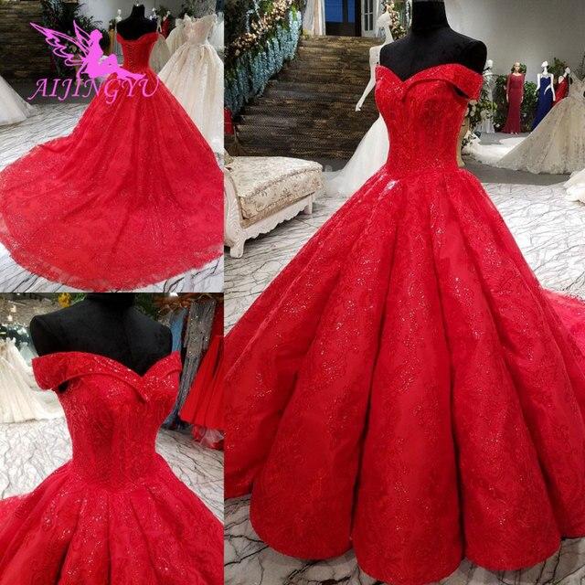 AIJINGYU الزفاف استقبال اللباس الدهون حجم مثير المصممين دبي حجر الراين اللؤلؤ ثوب الطابق طول الزفاف ارتداء أثواب