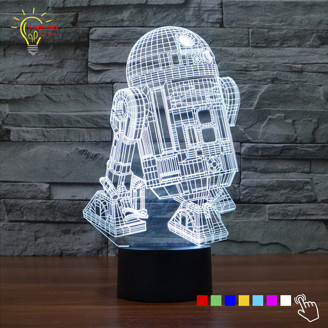 Schon Star Wars BB8 R2D2 Modell 3D Tabel Lampe Led Beleuchtung Spielzeug 7 Farbe  Visuelle Illusion