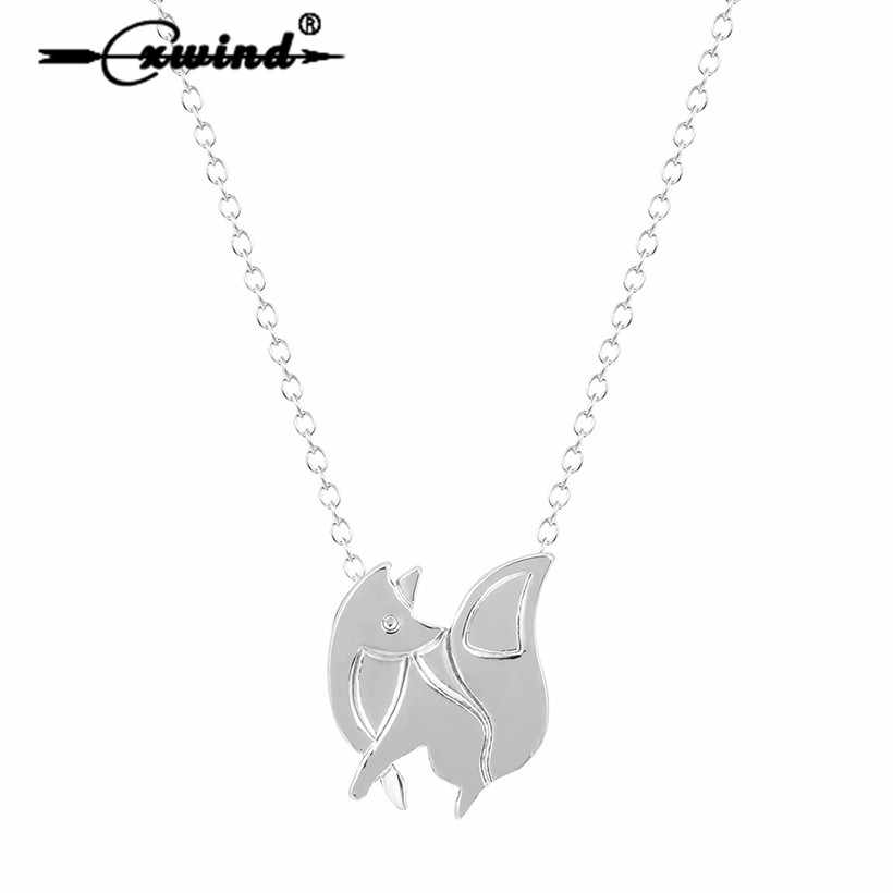 Cxwind BABY FOX SHAPED SILHOUETTE PENDANT NECKLACE for Women Statement Animal Necklace Charms Collar Bijoux