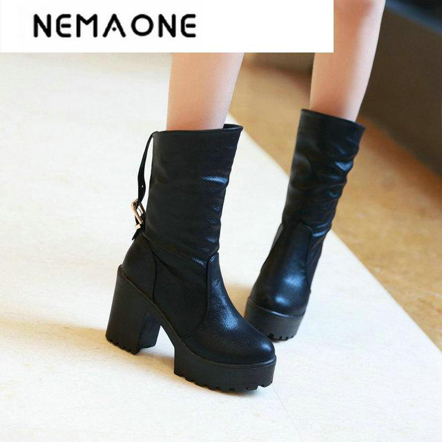 New women winter boots Women mid-calf knight boots sexy Design Round toe thick square heel Platform Women Boots large size 34-46 double buckle cross straps mid calf boots