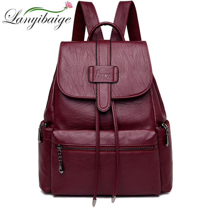 2019 Women Vintage Leather Backpacks Ladies Sac A Dos Female Backpacks For Girls Large Capacity Travel Shoulder School Bag Girls
