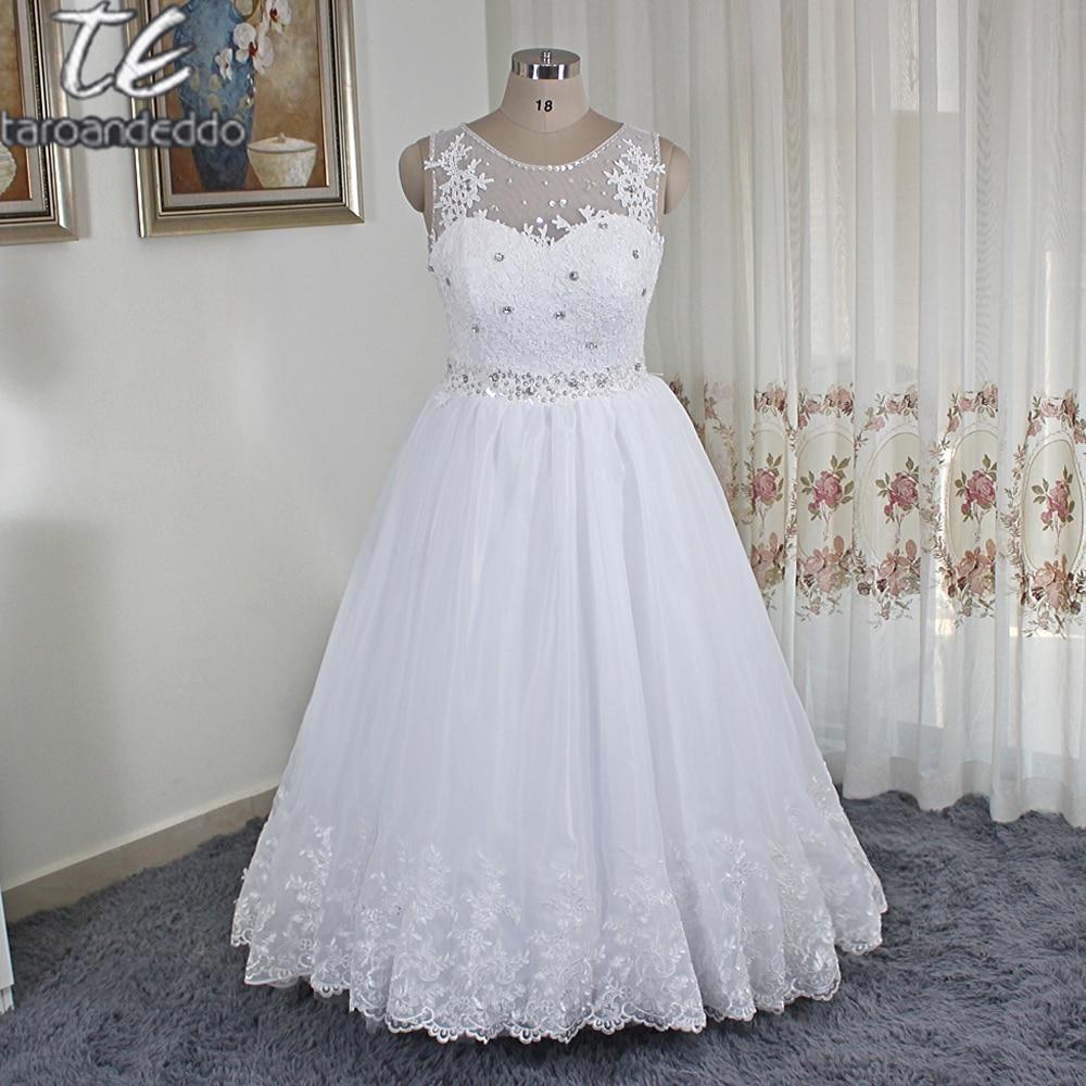 Jewel Neck Plus Size Beading Sash Sleeveless A line Floor Length Wedding Dress No Train Applique