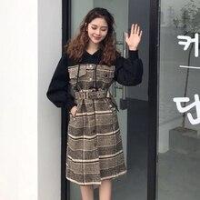 2017 Korean winter women's new long paragraph Sweater Hoodie Plaid woolen dress stitching long sleeved skinny