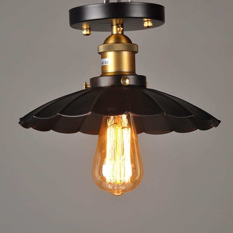 E27 E26 25cm Diameter 110V 220V Ceiling Light Lamp Base Vintage Ceiling  Lamp Fixture Retro Kitchen