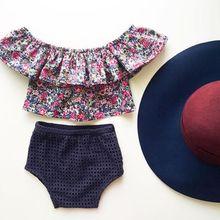 купить 2016 Girl Clothes Summer Flower Kids Clothes Girls Clothing Set T-shirt Briefs Casual Children Clothing Sport Suit по цене 333.94 рублей
