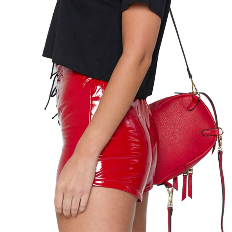 PU Leather Slim Bag Hip Sexy Short Pants New Casual Women Leather Pants Bright Leather Straps High Waist Shorts 2019 in Shorts from Women 39 s Clothing