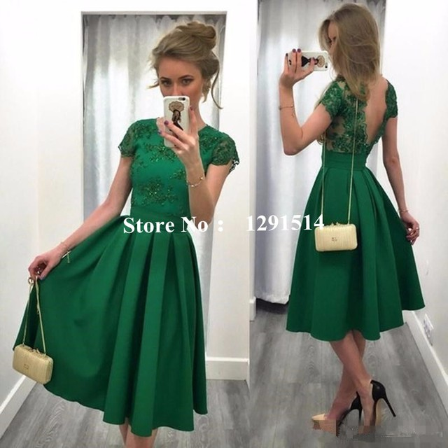 d64159b8076 Dark Green Satin Bridesmaid Dresses For Wedding Party Girls Cheap Short  Sleeve Knee Length Backless Homecoming Cocktail 2017