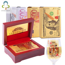 Gold Black Foil Poker Euros Dollar Style Plastic Poker Playing Cards Waterproof Cards Good Price For Gambling Board Game GYH(China)