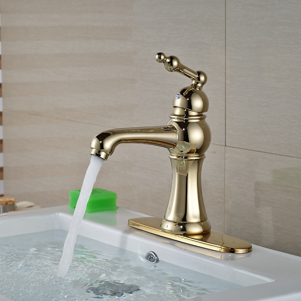 Wholesale And Retail Golden Deck Mounted Bathroom Basin Faucet Single Handle Hole Wash Basin 8