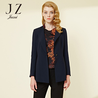 Autumn and winter women new pure color one button lapels Slim long sleeved professional suit top JUZUI
