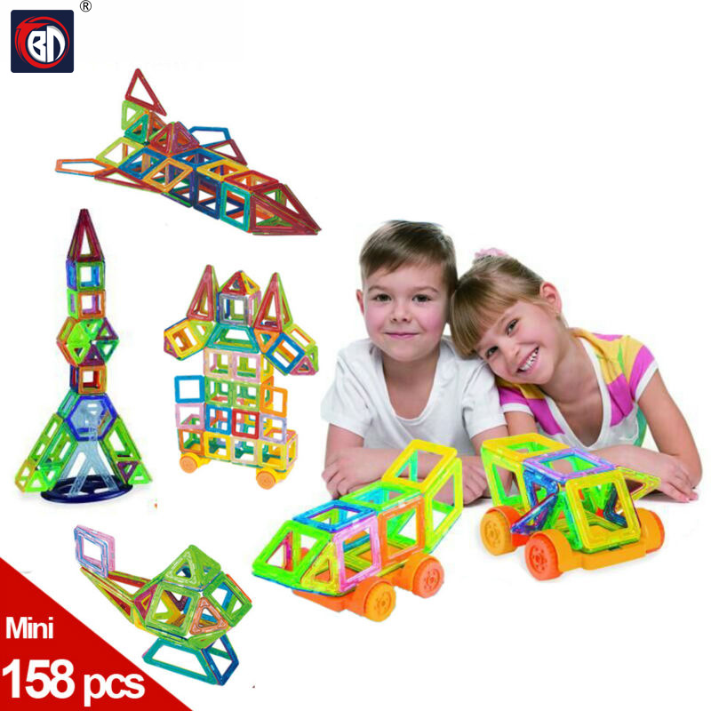 BD Mini 158pcs Magnetic Construction Models Building Blocks Toys DIY 3D Magnetic Designer Learning Educational Bricks Kids Toys minitudou 88pcs kids toys educational magnetic blocks designer 3d diy models construction creative enlighten building toy gifts