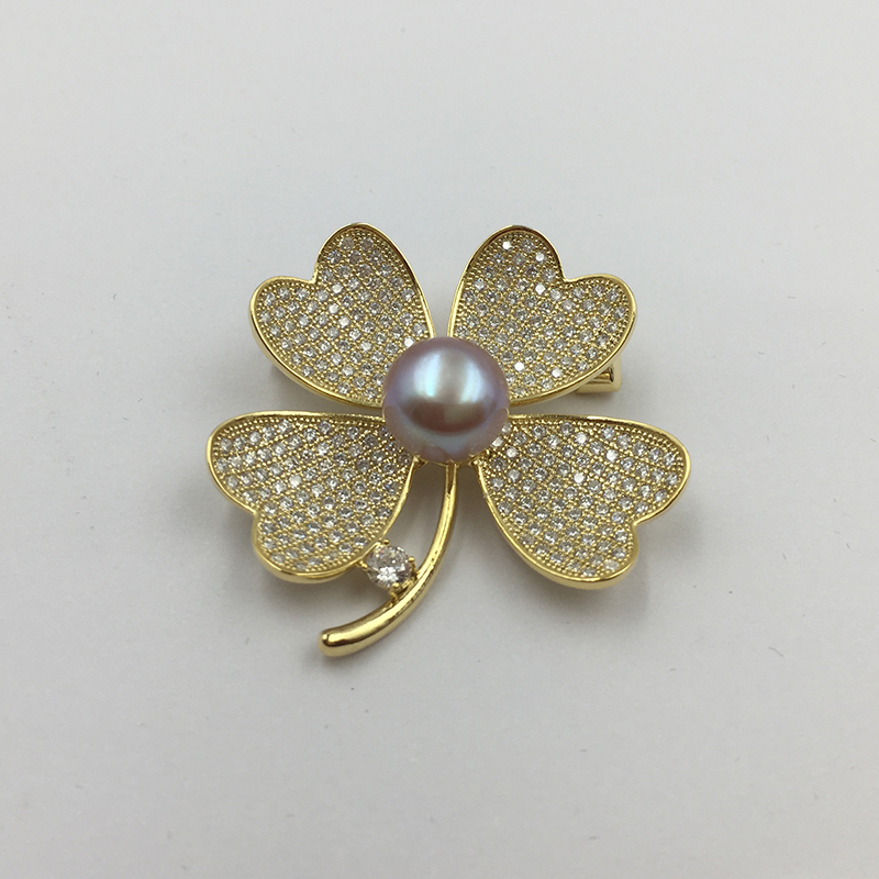 Sinya Natural Pearl Four leaves design Brooch lucky Clover Gold plated Brooches New arrival 2018 pink purple white optional (7)