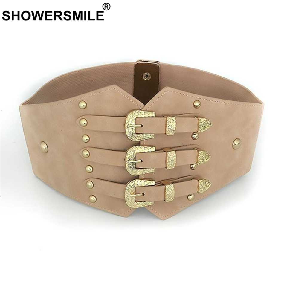 a8f7cf70 SHOWERSMILE cinturones fajas de cuero de la PU y elástico tipo corsé de  amplia cinturones para vestidos de negro Vintage 2019 nuevos accesorios de  ...