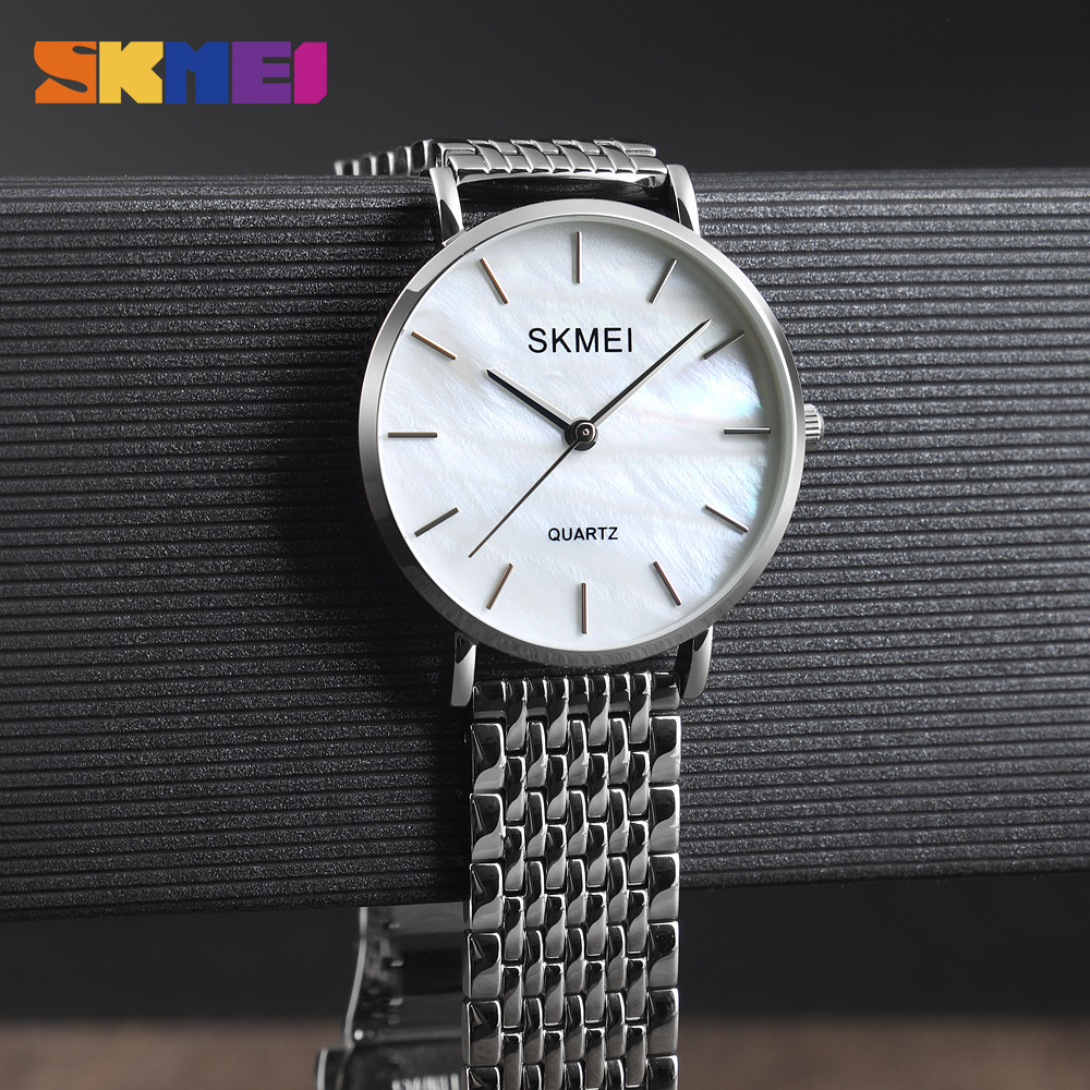 SKMEI NEW Women Watches 1365 Quartz Wristwatch Ladies Watch 30M Waterproof Stainless Steel Wristband Top Brand Clock Reloj Mujer in Women 39 s Watches from Watches