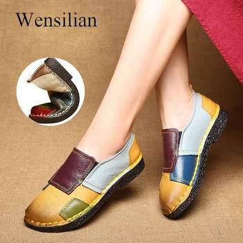 4ee4da1d Zapatos de cuero genuino mocasines para mujer zapatos de bailarina de  primavera mocasines bonitos para mujer zapatos de Ballet suaves de colores  mezclados