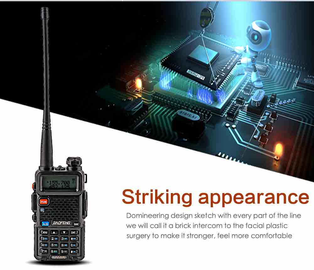 2Pcs BaoFeng UV-5R Walkie Talkie VHFUHF136-174Mhz&400-520Mhz Dual Band Two way radio Baofeng uv 5r Portable Walkie talkie uv5r (2)