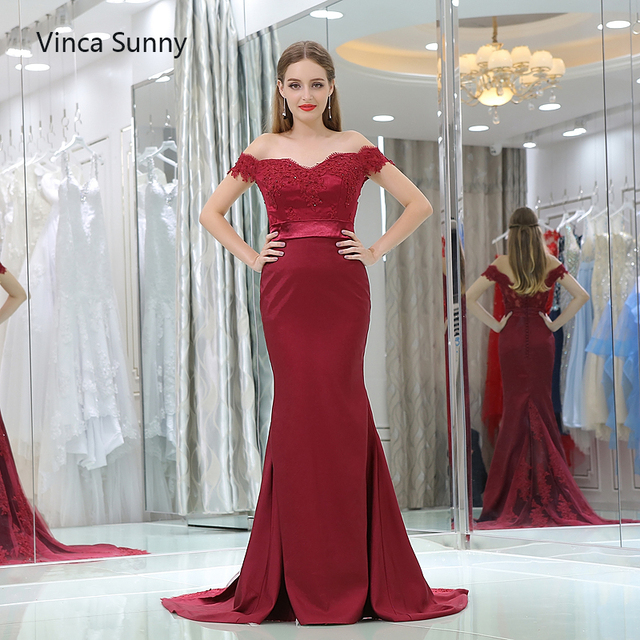 Vinca Sunny vestido de festa de casamento 2018 Burgundy bridesmaid dresses  long Mermaid robe demoiselle d honneur Custom 5d86ddb8138e