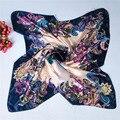 New cetim Charmeuse quare quadrado pequeno lenço de seda flor da cópia floral Do Vintage lenço de seda de cetim de seda 90*90 cm cachecóis xale