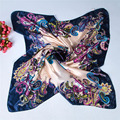 New satin small square silk scarf flower floral print Vintage Charmeuse quare scarf silk satin 90*90cm silk scarves shawl