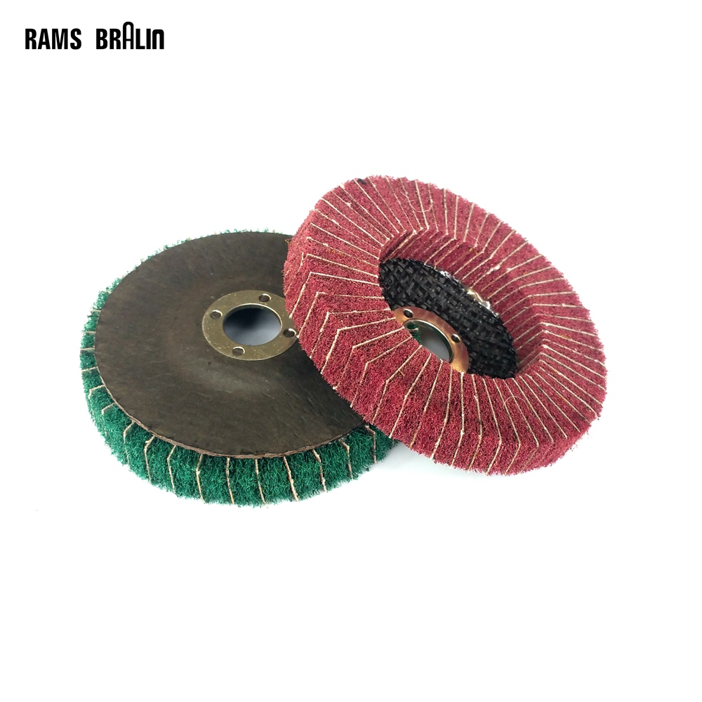 10 Pieces 100*16mm Angle Grinder Flap Wheel Non-woven Nylon Sanding Cloth Combi Polishing Disc For Metal Grinding