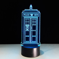 1Piece 7 Colors Change Lamp Police Box 3D Lamp Acrylic LED USB Table Lamp TARDIS Lights