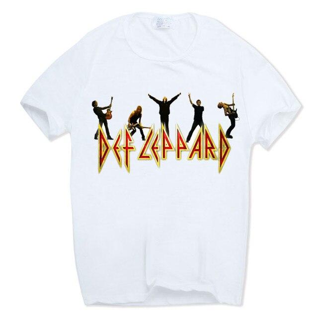 988b4594 UK Heavy Metal Rock Band Def Leppard T-Shirt Men's New 'Hysteria' Design T  Shirt Printed High Quality Casual Clothing HCP860