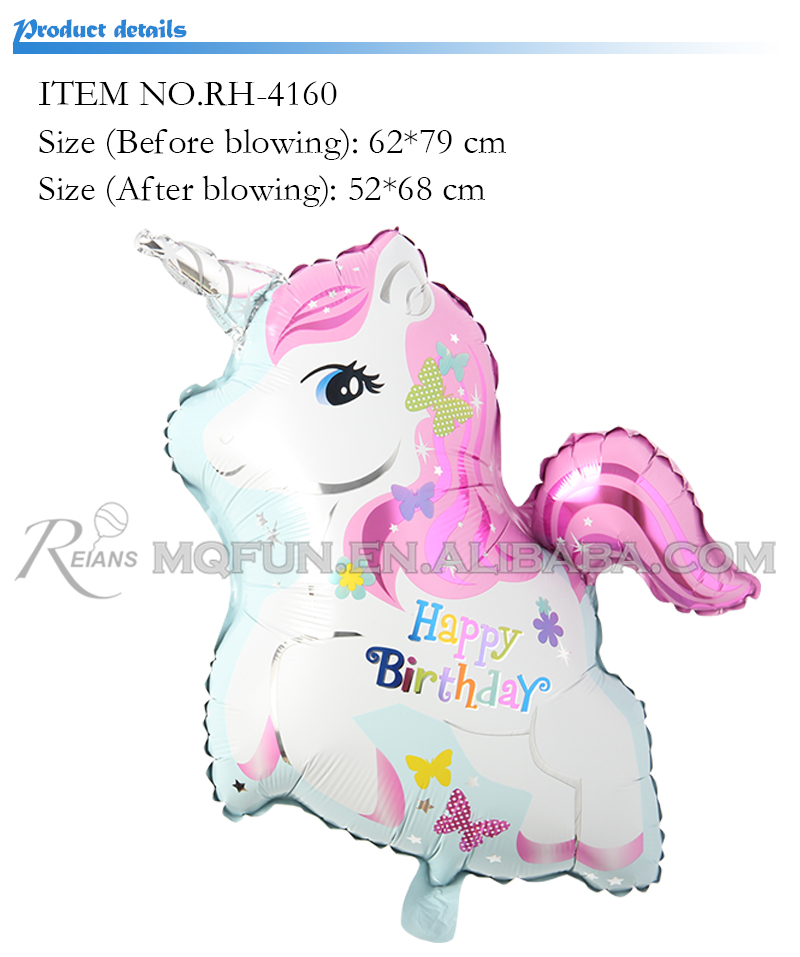 Cute unicorn Helium balloons happy birthday horse kids toys inflatable foil balloons unicorn birthday party decoration supplies