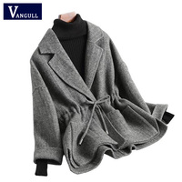 Fashion Casual Women's Clothing 2018 Autumn & Winter Plaid Loose Female Blazer Coat long sleeve Notched Lace belt Women Blazers
