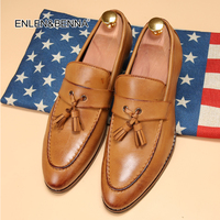 2015New England Men Shoes Pointed Toe California Autumn Shoes Soft Leather Platform Shoes Men Tassel Dress
