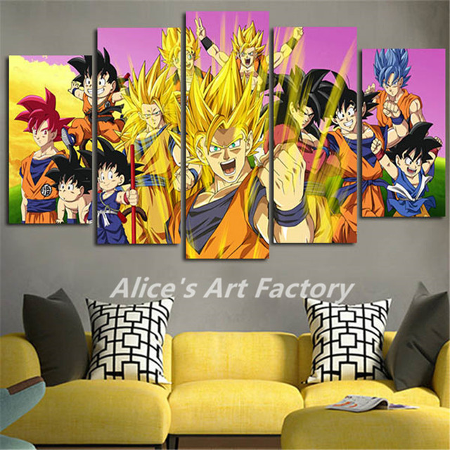 5Piece Canvas Art Prints Anime Poster Painting Wall Art Dragon Ball ...