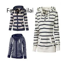 Large Size Long Sleeve Striped Coats Fashion Casual Full New Style Spring Hoodies Sweatshirt For Women Plus S-4XL