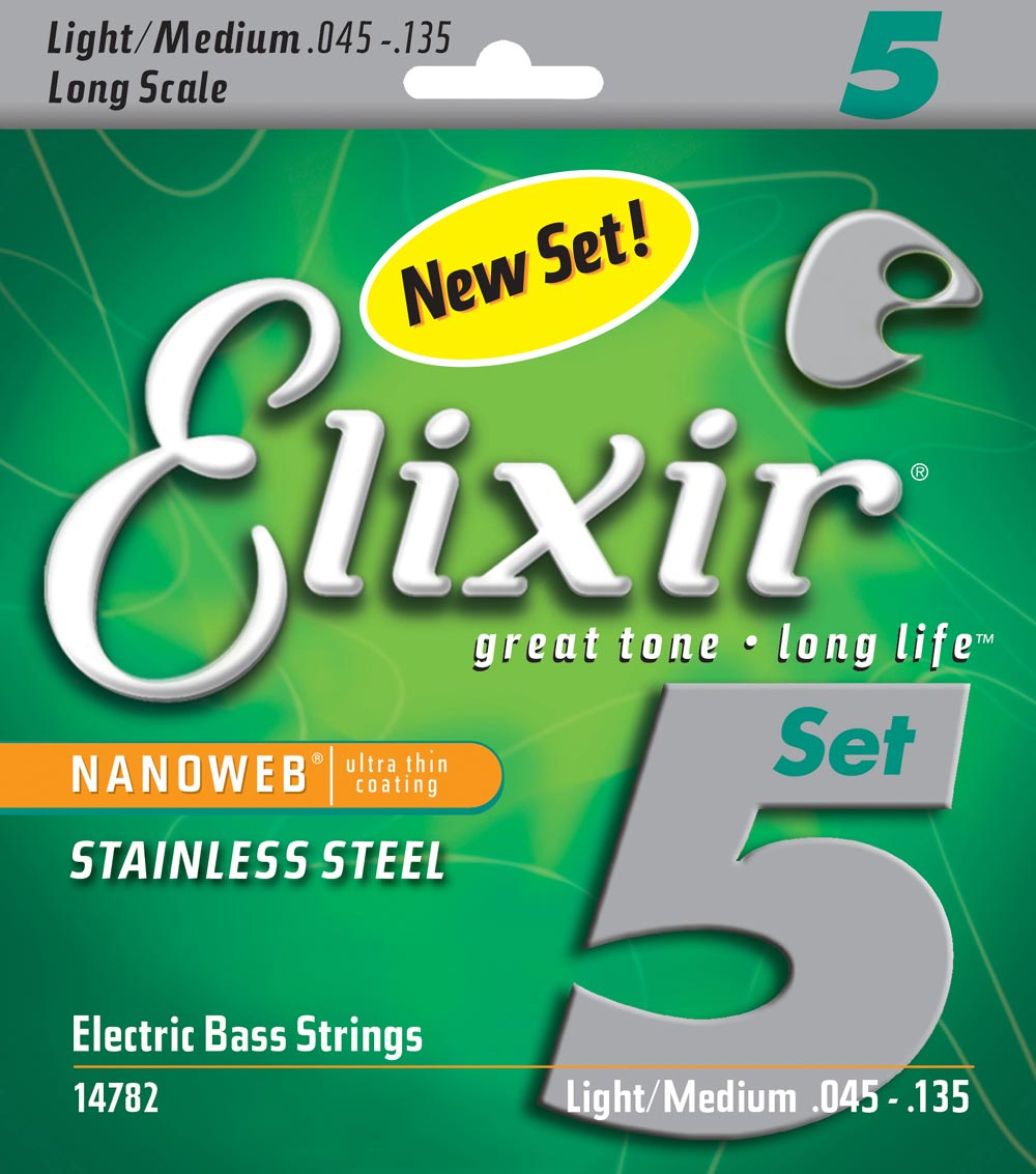 Elixir Original 14782 Electric Bass Stainless Steel with NANOWEB Coating5-String Light/Medium, Long Scale 45-135 rotosound rs66lc bass strings stainless steel