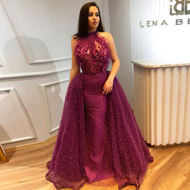 1c35657a1c7 African Mermaid Overskirts Prom Gowns Illusion High Neck Beaded Evening  Gowns 2018 3D Floral Appliqued Formal Party Dress