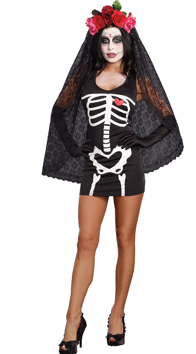 Mexico Day Of The Dead Skull Skeleton Dress Costume Halloween Carnival Cosplay Outfit