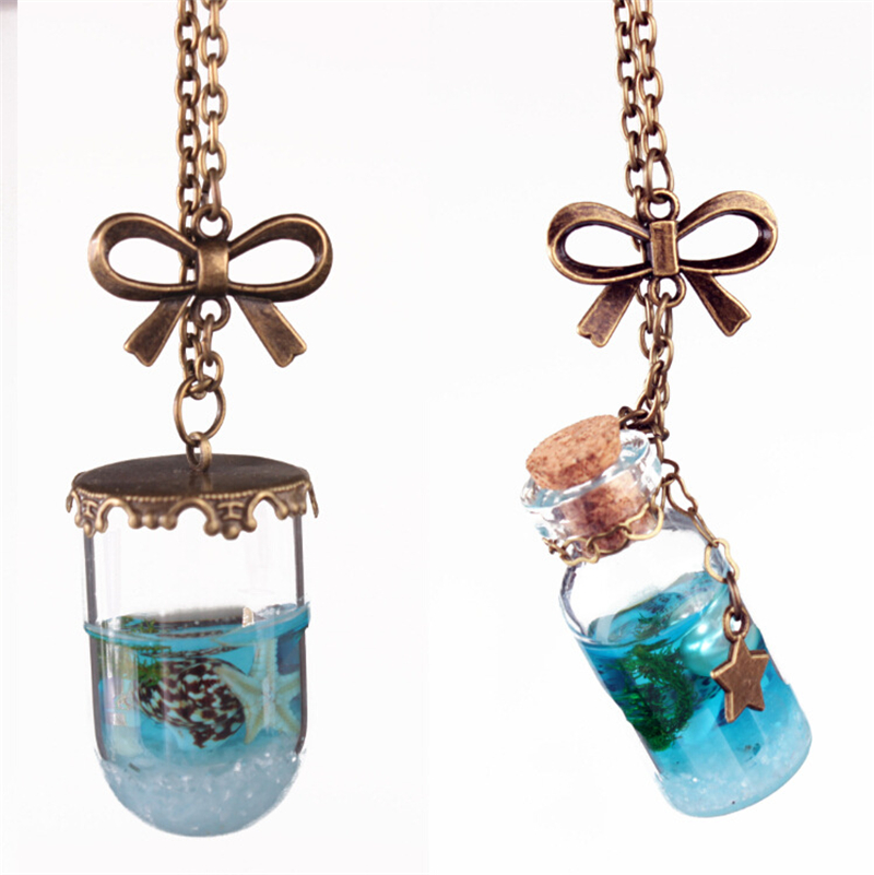 5pcslot Bottle Glass Necklace Starfish Necklace Shell Pearl Necklace Bowknot Pendent Necklace Ocean Theme Jewelry