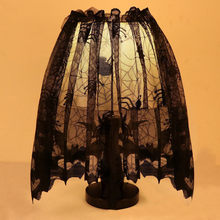Happy Halloween Knitted Curtain Lamp Cover Black Spider bat lace chimney blackout curtains for the bedroom living room A30(China)