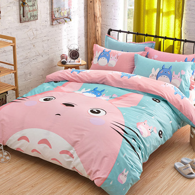 Cute Totoro Bedding Set 3/4pcs Cartoon Jogo De Cama Unique Design Anime Bed Sheets Duvet Cover ...