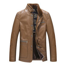 L-8XL!!!2016 Fur one piece male leather jacket stand collar plus size  men's motorcycle leather clothing plus velvet