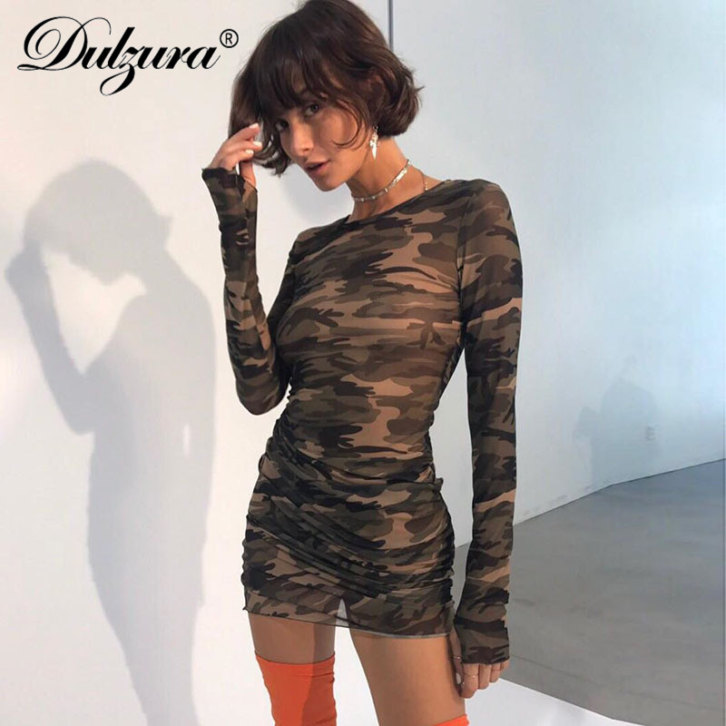 Dulzura-Vestido corto ajustado de manga larga para primavera y verano, minivestido sexy de camuflaje para mujer, 2018