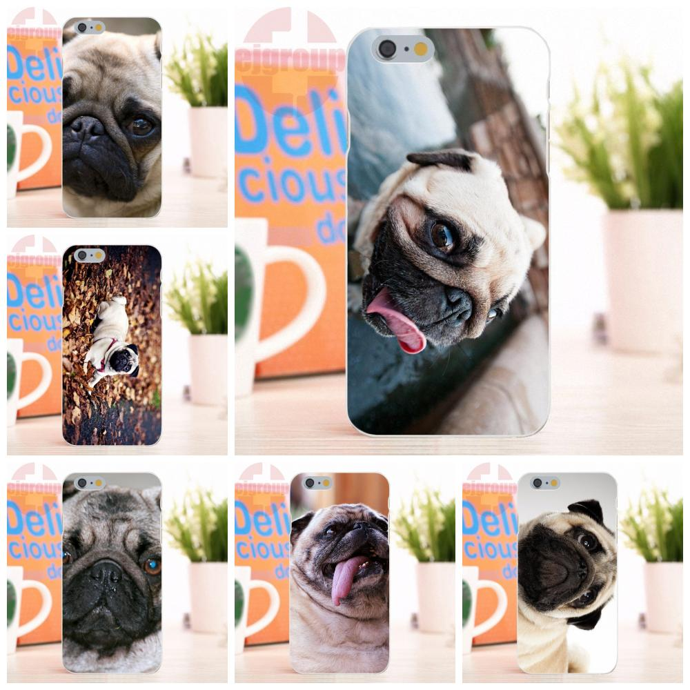 EJGROUP Pug Dog Animale For Apple iPhone 4 4S 5 5S 5C SE 6 6S 7 8 X Plus Soft Silicone TPU Transparent Top Selling