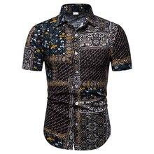 Plus size 4XL 5XL Camisa Social Shirt Floral Print Blouse Men Short Sleeve Linen Shirts Men Flower Hawaiian style Fashion New 11 5xl