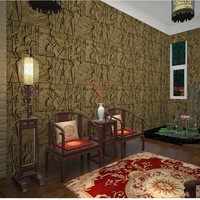 Free Shipping Retro features imitation carved Egyptian pattern chamber wallpaper realistic character art bedrom wallpaper