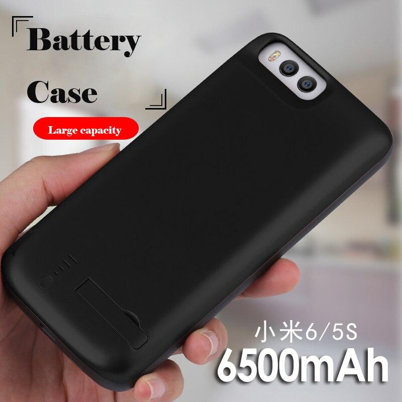 Caixa de Bateria 6500 mAh Para Xiao mi mi mi 6 6 Borracha Shell Carregador Externo Para Xiao mi mi 6 tampa Do poder Com Suporte Capa Funda