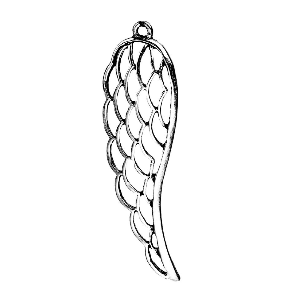 DoreenBeads Zinc Based Alloy Antique Silver Pendants Angel Wing Hollow Pattern DIY Jewelry Components 77mm x 22mm( 7/8), 5 PCs