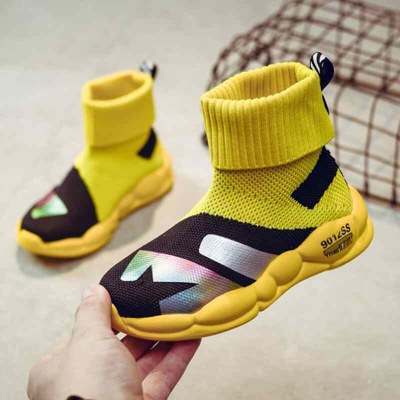 Спортивная обувь для мальчиков Новые весенние детские летающие кроссовки высокие носки для девочек детские дышащие мягкие беговые кроссовки