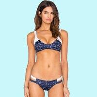 2018 riemen Dreieck Bikini Zweiteilige Badeanzug Frauen Dot Blau Weiß U Kragen Verband Binden Zurück Mit Low Rise String Seite Unten