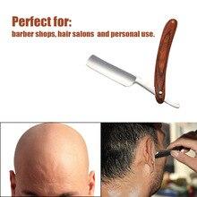 Folding Razor Pearwood-Handle Straight Beard Barber Shaving Throat Carbon-Steel Male